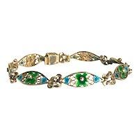 "Arts and Crafts Green Enamel Silver 7 "" Bracelet"