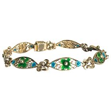 "Arts and Crafts Green Enamel Silver 7 "" Bracelet"