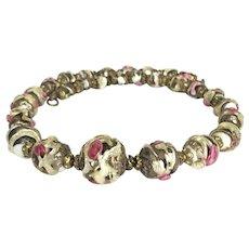 19th Century Rare Venetian Fiorato Glass bead Necklace 13 inches.