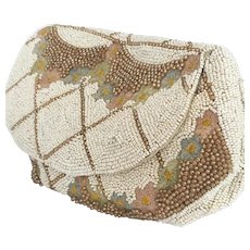 Exquisite Edwardian era Hand-Made Glass Seed beads Purse.