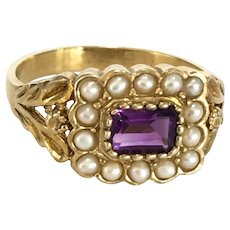 A wonderful Amethyst Seed Pearls Gilded silver Ring Size 7 1/4