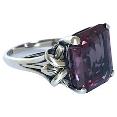 French Arts and Crafts Synthetic Colour Change Sapphire Ring size 6.