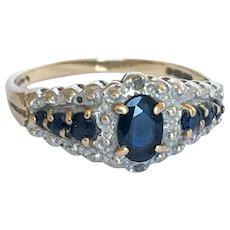 20th Century Sapphire Diamond Ring size 8 1/2