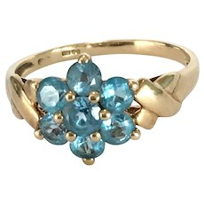 Vintage Blue Topaz 9K Gold Ring Size 9