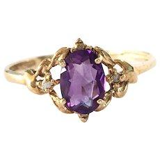 Vintage 9K Gold Amethyst Crystal Ring Size 7 1/4