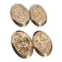 Arts and Crafts era 9K Gold Engraving Cufflinks