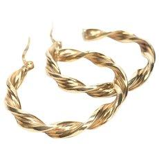 Gorgeous 9K Gold Twist Hoop Earrings