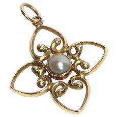 Antique Edwardian 15K Gold Pearl Pendant