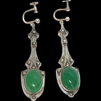Antique Art Deco Sterling Silver Green Chrysoprase Earrings