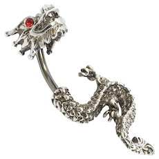 A sweet little 8Ct White Gold Dragon Pin