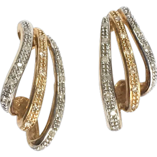 Vintage 9K White and Yellow Gold Diamond post Earrings