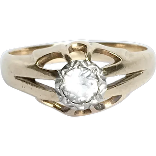 Antique Victorian 15 Ct Gold Spinel Belcher Ring size 6 1/2