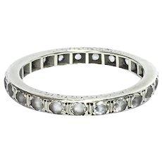 Art Deco 14 Ct White Gold Aquamarine Eternity ring size 6