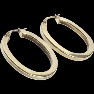 9Ct Gold Large Creole Hoop Earrings