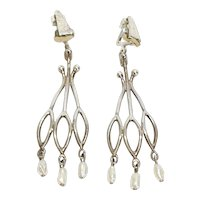 Mid-20TH Century Sterling silver Rice Pearl Dangle Earrings