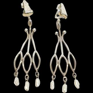 Mid-Century Sterling silver Rice Pearl Dangle Earrings