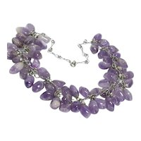 """20th Century Amethyst and 800 Silver Teardrop Beaded Necklace 17"""""""