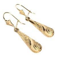 9CT Gold Texture Teardrop earrings