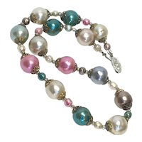Miriam Haskell Unsigned Baroque Pearl Necklace