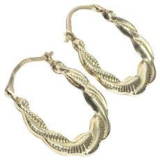 9CT Gold Texture Swirl Hoop Earrings