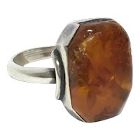 Arts and Crafts Silver Amber ring size 5 1/2