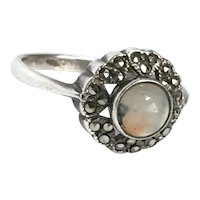 Arts and Crafts Sterling Silver Moss Agate ring size 7