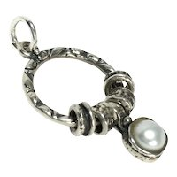 """Sterling Silver Pearl  Charm Ring Pendant 1 1/4"""""""