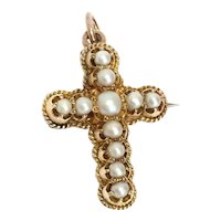 Antique Victorian 15K Gold Pearl Cross Pendant/Brooch