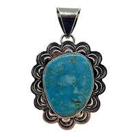 Alex Sanchez Sterling Pendant with Turquoise Native Navajo Mexico Silver Zuni