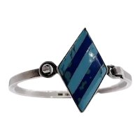 Stunning Lapis Turquoise and Mexico Silver Hook Bracelet Taxco Signed