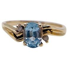 .80 Vintage 10k Plumb Aquamarine Diamond