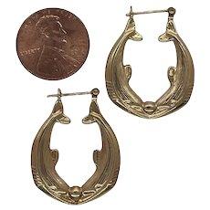14k Double Dolphin Earrings Hoop Gold