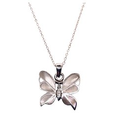 """Sterling Mother Of Pearl Butterfly Pendant with Chain Necklace 14"""" Silver"""