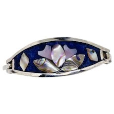 Taxco Flower Mexico Silver Inlay Bracelet Clamper Hinged