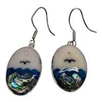 Mexico Silver Water Scene Bird Earrings Inlay Enamel