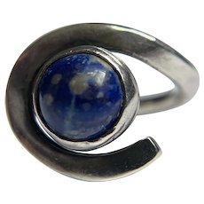 Vintage Sterling Blue Lapis Ring Swirl