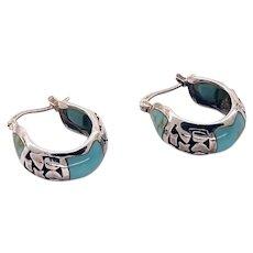 Silver Turquoise Hoop Scroll Work 925 Sleeping Beauty