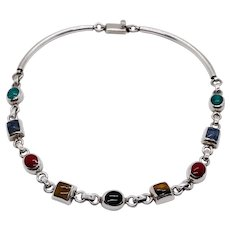 Mid Century Taxco Sterling Silver Multi-Stone Necklace Bezel Set Turquoise Bracelet, Lapis, Jasper, Malachite, Onyx, Sterling Bracelet, Vintage Mixed Stones, Multi, Links Linked,