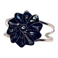 Vintage Taxco Shell Enamel Cuff Bracelet Mexico Silver 925