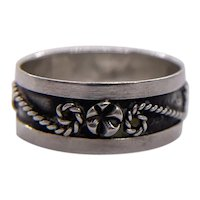 7.5 Silver Mexico Rope Flower Ring Hechoen Sterling 112 Eagle Stamped