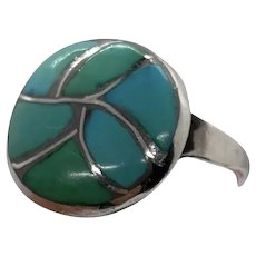 Size 6 Turquoise Zuni Channel Inlay Vintage Silver Ring