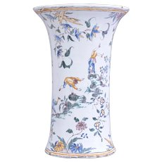 Moustiers Tin-glazed Faience Vase With Polychrome Grotesques Decor 18th Century