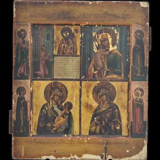 Antique Russian Orthodox Multi-subject Icon Circa 1900