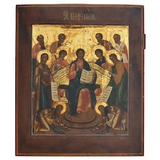 19th century Russian Orthodox Icon The Holy Week (Седмица - Sedmitsa) with Jesus Pantocrator.