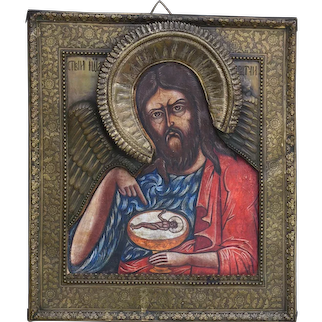 Russian Orthodox Icon St John The Baptist Showing The Child Jesus In A Goblet Copper Risa 19th