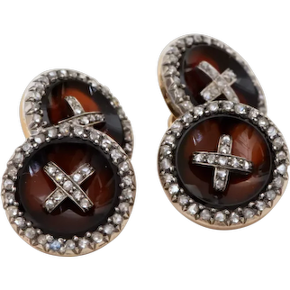 18 K Gold, Silver, Carnelian and Rose Cut Diamonds Cufflinks