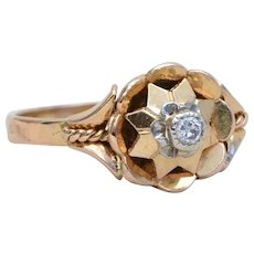 18k Yellow Gold and Diamond Star-shaped Ring
