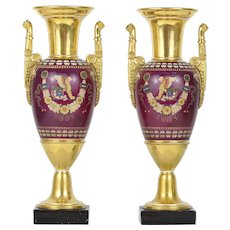 Pair of Empire Style Old Paris porcelain vases by Lebon-Halley Manufacture Early 19th Century