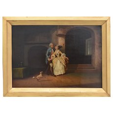 Painting Depicting XVIIIth Century Style Romantic Scene Oil On Panel XIXth Century