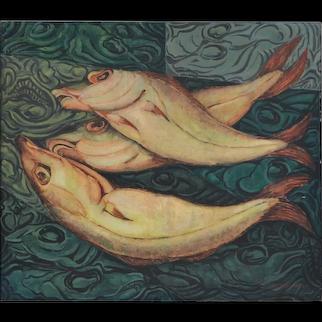 Rik Brouwers (1904-1978) Flemish School Still Life Three Pikes Oil On Canvas